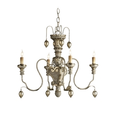 Mini-Chandelier in Provencial White/ Sliver Leaf Finish