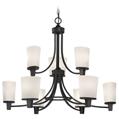 Modern Chandelier with White Glass in Bolivian Finish