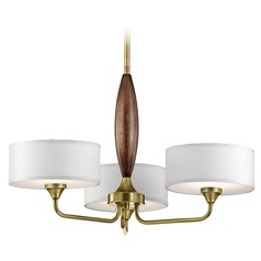 Mid-Century Modern 3-Light Chandelier Brass Lucille by Kichler Lighting