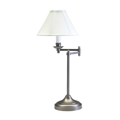 Swing-Arm Lamp with White Shade in Antique Silver Finish