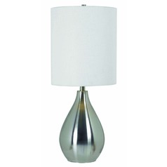 Modern Table Lamp with White Shade in Brushed Steel Finish