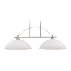 Island Light with White Glass in Brushed Nickel Finish