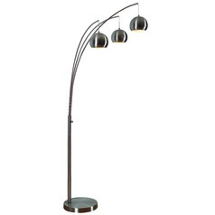 Kenroy Home Joan Brushed Steel Arc Lamp with Bowl / Dome Shade