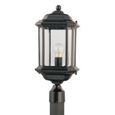 Post Light with Clear Glass in Black Finish