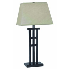 Table Lamp with Taupe Shade in Bronze Finish