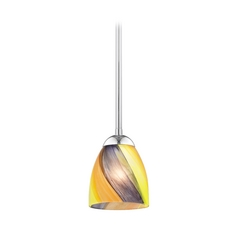 Design Classics Lighting Modern Mini-Pendant Light with Art Glass 581-26 GL1015MB