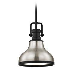 Satin Nickel Small Industrial Mini-Pendant with Black Accents 8.63-Inch Wide
