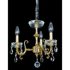 Bertalli 3 Light Mini Chandelier w/ 24K Gold