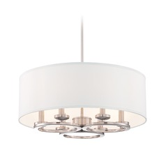Designers Fountain Omega Satin Platinum Pendant Light with Drum Shade