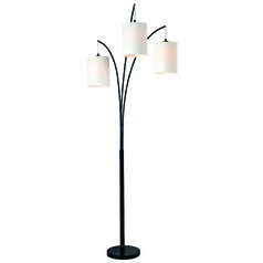 Kenroy Home Leah Black Arc Lamp with Cylindrical Shade