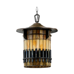 Outdoor Hanging Light with Art Glass in Bergamo Finish