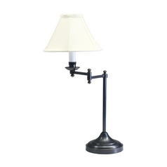 Swing-Arm Lamp with White Shade in Oil Rubbed Bronze Finish