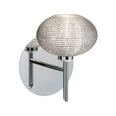 Besa Lighting Lasso Ribbed Glass Chrome Sconce