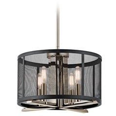 Kichler Lighting Titus Polished Nickel Pendant Light with Drum Shade