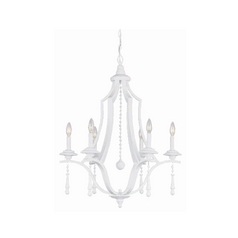 Crystal Chandelier in Wet White Finish