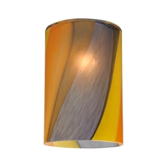 Cylinder Art Glass Shade with Diagonal Stripes - Lipless with 1-5/8-Inch Fitter