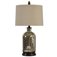 Stylecraft Antique Silver Plated Table Lamp with Drum Shade