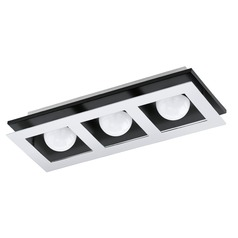 Eglo Bellamonte Chrome, Brushed Aluminum & Black LED Flushmount Light