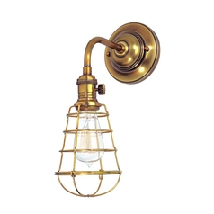 Sconce Wall Light with Gold Cage Shade in Aged Brass Finish