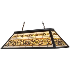 Billiard Light with Tiffany Glass in Bronze Finish