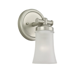 Modern Sconce Wall Light with White Glass in Antique Brushed Nickel Finish