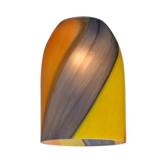 Art Glass Shade with Diagonal Stripes - Lipless with 1-5/8-Inch Fitter