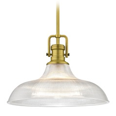 Industrial Prismatic Pendant Light Brass 15.38-Inch Wide