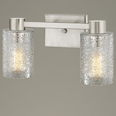 2-Light Ice Glass Bathroom Vanity Light Satin Nickel