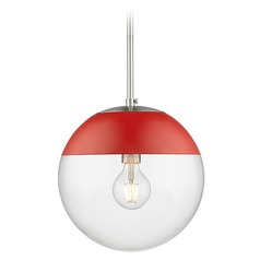 Golden Lighting Dixon Pewter Pendant Light with Globe Shade and Red Accent
