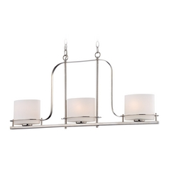 Island Light with White Glass in Polished Nickel Finish