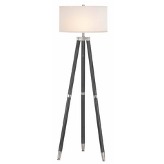 Tripod Ebony & Satin Nickel Floor Lamp with White Linen Drum Shade