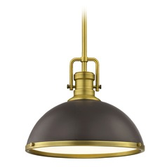 Farmhouse Industrial Satin Brass Pendant Light 13.38-Inch Wide