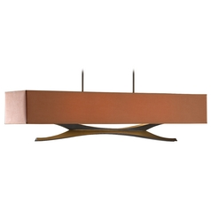 Hubbardton Forge Lighting Moreau Dark Smoke Island Light with Rectangle Shade