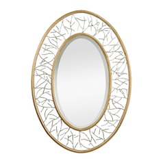Gold Leafed Metal Branch Framed Mirror With Silver Accents