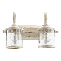 Seeded Glass Bathroom Light White Quorum Lighting