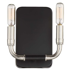 Minka Lavery Liege Matte Black with Polished Nickel Sconce