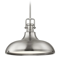 Industrial Satin Nickel Pendant Light 15.63-Inch Wide