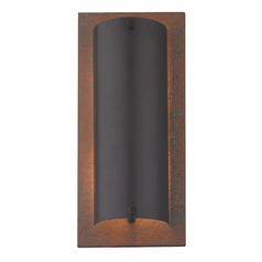 Modern Sconce Wall Light in Natural Slate / Olde World Iron Finish