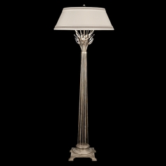 Fine Art Lamps Crystal Laurel Antiqued Warm Silver Leaf Floor Lamp with Empire Shade