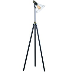 Kenroy Home Outlook Oil Rubbed Bronze with Antique Brass Accents Floor Lamp with Conical Shade