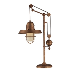 Pulley Table Lamp with Cage Shade - Copper Finish