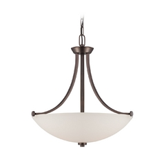 Pendant Light with White Glass in Hazel Bronze Finish