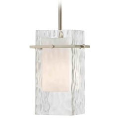 Satin Nickel Mini-Pendant Light with Water Glass
