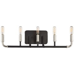 Minka Lavery Liege Matte Black with Polished Nickel Bathroom Light