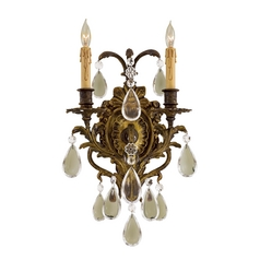Crystal Two-Light Wall Sconce in Antique Bronze Patina Finish