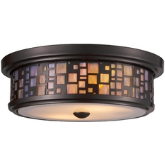 Modern Flushmount Light With White Gl In Oiled Bronze Finish