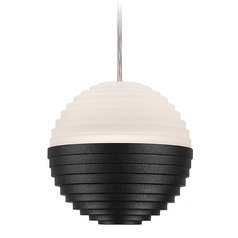 Modern Black LED Mini-Pendant with Frosted Shade 3000K 165LM