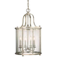 Polished Nickel Cage Chandelier with Four Lights