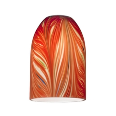Red Art Glass Shade - Lipless with 1-5/8-Inch Fitter Opening