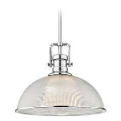 Industrial Prismatic Pendant Light Chrome Finish 13.13-Inch Wide